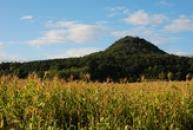 Homolovitý kopec se zříceninou hradu na vrcholu...