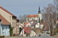 Panorama s kostelem sv. Barbory.