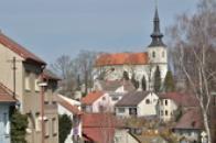 Pohled na kostel sv. Barbory.
