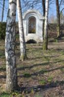 Kaplička nad studánkou v březovém hájku.
