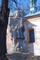 Detail sochy z roku 1761 před zdejším kostelem.