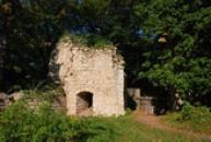 Zbytky zdí dávného hradu u Domoušic.