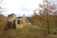 Pohled na zříceninu hradu.