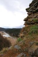 Pohled na Berounku z prvního patra hradu.