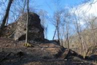 Zbytky obranné věže.