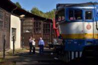Výklad v železničním muzeu.