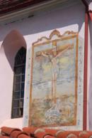 Malba na fasádě kostela sv. Jakuba.