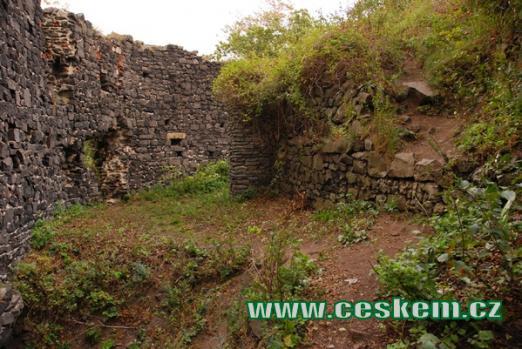 Zbytky hradu na kopci ve tvaru homole.