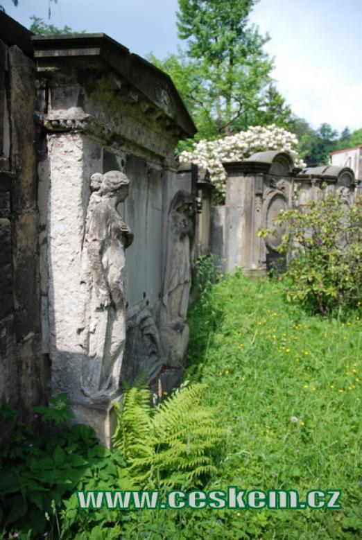 Staré německé náhrobky u zdejšího kostela.