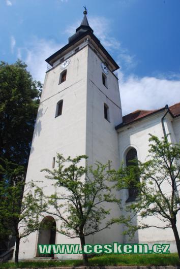Věž kostela sv. Jana Křtitele.