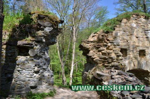 Zbytky zdí dávného hradu.
