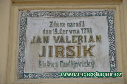 Pamětní deska narození J. V. Jirsíka.