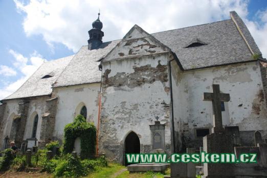 Dějiště básně Svatební košile - hřbitovní kostel sv. Máří Magdalény.