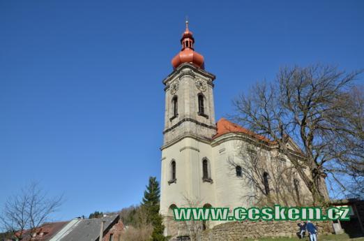Kostel sv. Jiří od jihu.