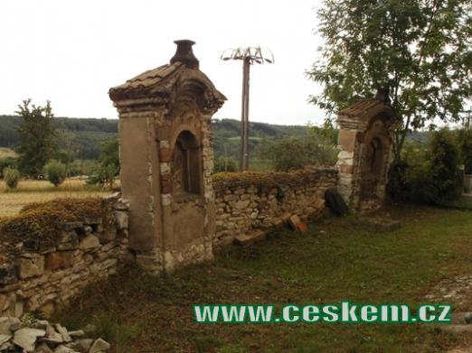 Zeď kolem kostelu sv. Martina a zdejšího hřbitova.