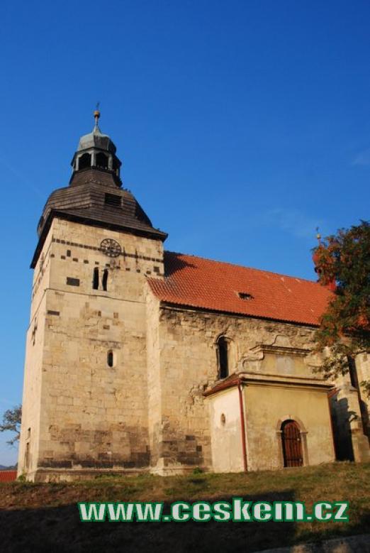 Věž kostela Stětí sv. Jana Křtitele.
