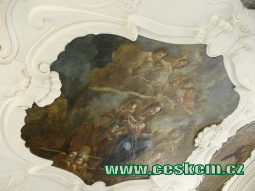 Freska v přízemí zámku.