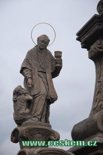 Detail sousoší sv. Jana Nepomuckého.