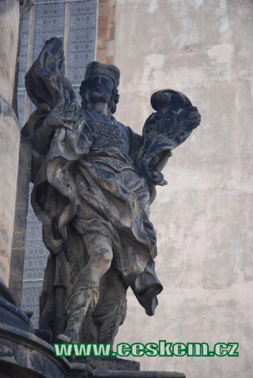 Detail sochy na sloupu sv. Jana Nepomuckého a zemských patronů.