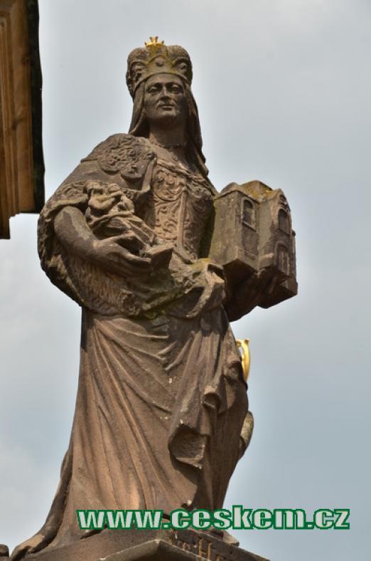Jedna ze soch na mariánském sloupu.