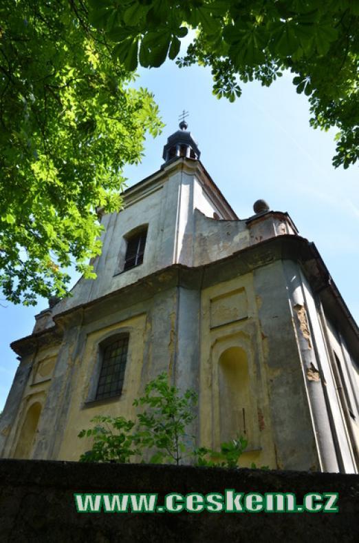 Průčelí kostela sv. Jana Křtitele.