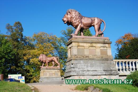 Sochy lvů před vstupem do zámku.