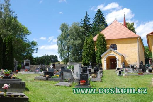 Hřbitov a kostel Narození Panny Marie.