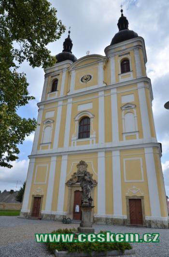 Průčelí kostela sv. Jana Křtitele,